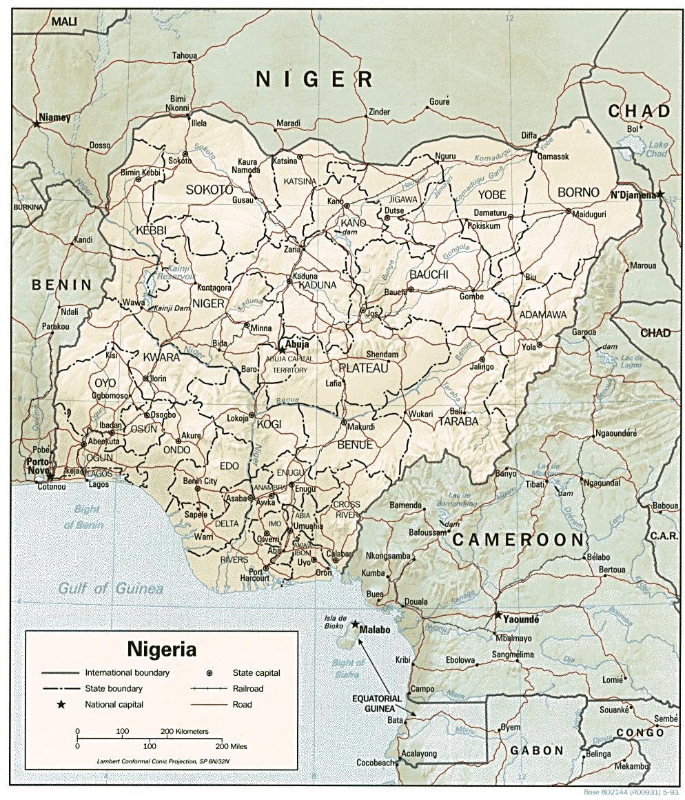 Latitud Longitud Karta Nigeria Karta Av Latitud Longitud Nigeria