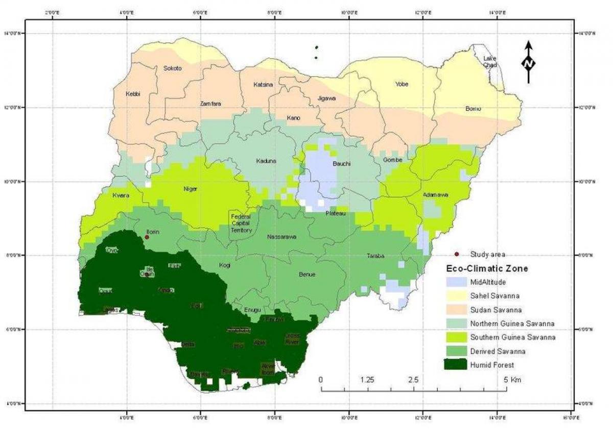 Karta över Nigeria Visar Klimatzoner Karta över Nigeria Visar