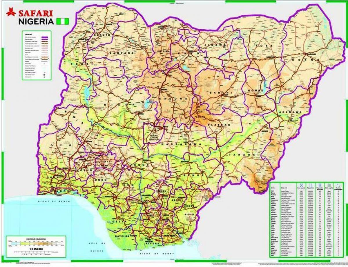Karta Och Avstand.Nigeria Fardplan Avstand Karta Over Nigeria Vagstrackan Vastra